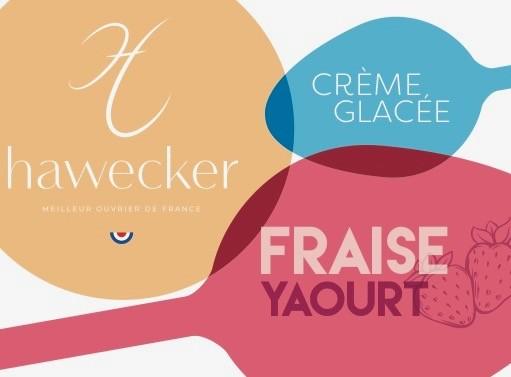 Crème glacée yaourt et sorbet fraise.